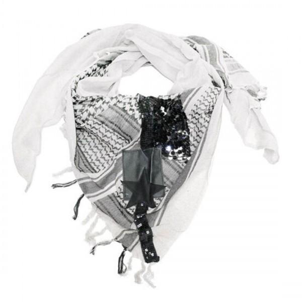 Damen Schal Modischer Dreieckschal Fransen Tuch Glitzer Stern schwarz