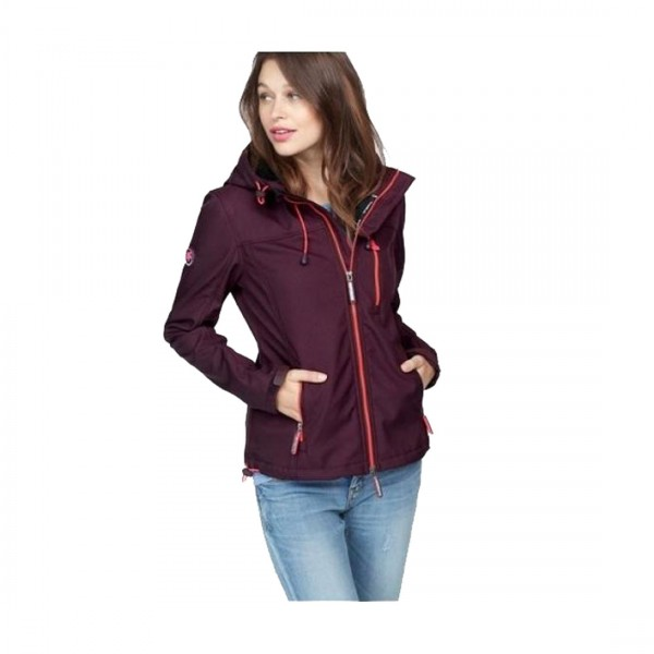 Superdry Damen Softshelljacke Jacke Windtrekker Hooded Lila Beere