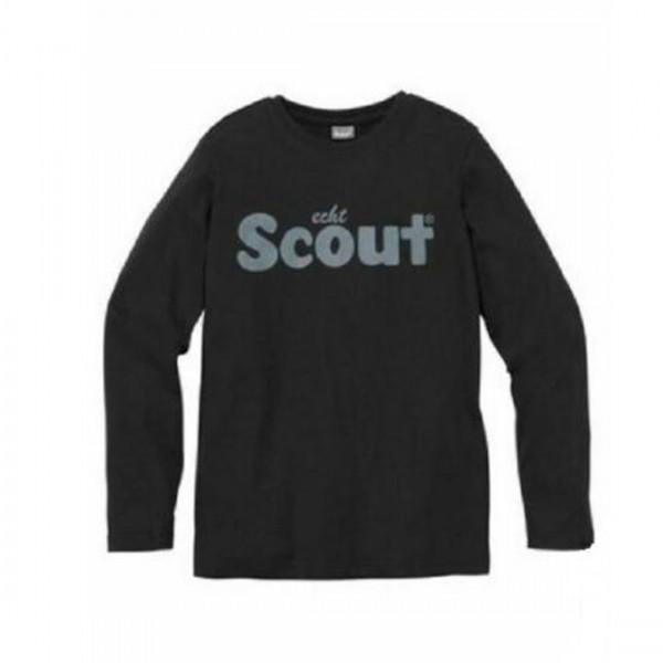 Scout Jungen Shirt T-Shirt Langarm Logo schwarz Baumwolle