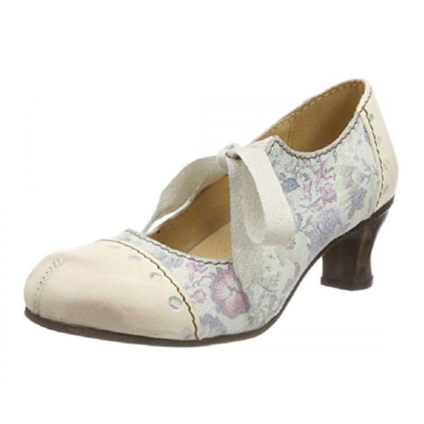 Rovers Damen Schuhe Sommer Pumps Beige Leder