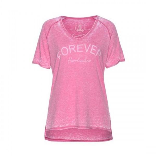Herrlicher Damen T-Shirt Kurzarm Casual Shirt Nikolina Jersey Pink