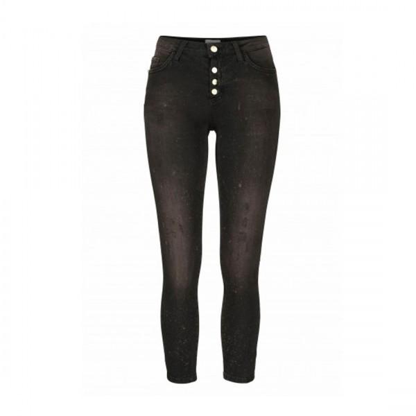 rich&royal Damen Jeans Midi Skinny Fit Denim Black