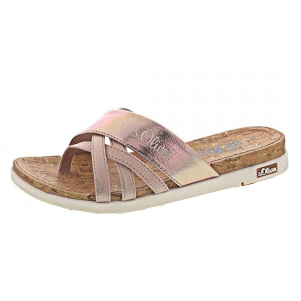 s.Oliver Damen Sandalen Pantolette Zehentrenner Schuh Sandaletten Rose Gold Metalic