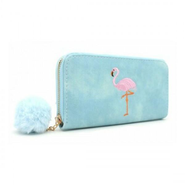 Damen Geldbörse Portmonee Brieftasche blau Flamingo Pink