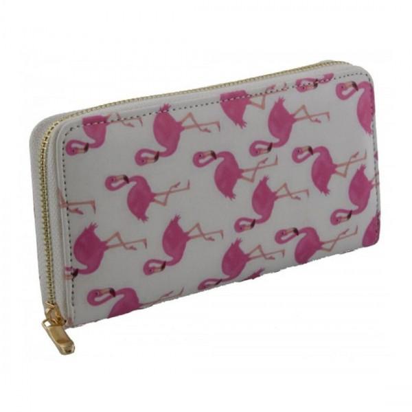 Damen Geldbörse Portmonee Brieftasche Flamingo Weiß