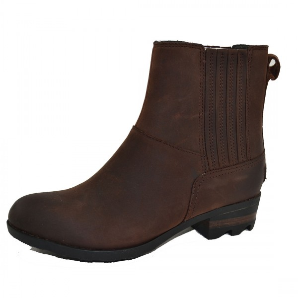 Sorel Lolla Chelsea Boots Bootie Stiefel Damen Stiefeletten Leder Schuhe Braun