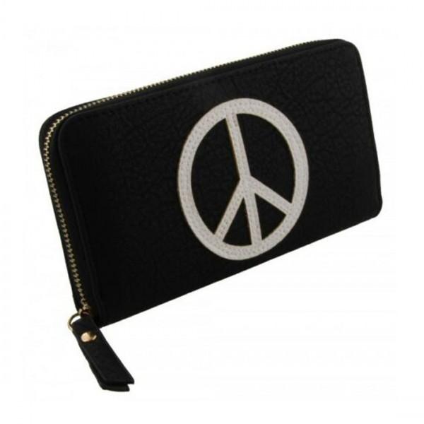 Damen Geldbörse Portmonee Brieftasche Schwarz Peace