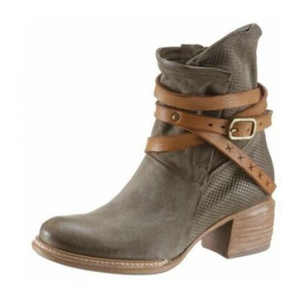 Details zu AirStep A.S.98 Leder Stiefel Damen Schuhe Stiefeletten Biker Boots Braun EUR 39